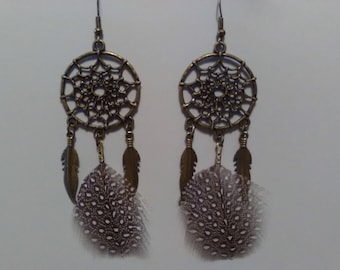 Natural Guinea fowl feathers dream catcher earrings