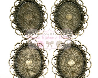 ON SALE Antique Bronze Loop Setting - 30 X 40mm - Set of 4 - Bronze Settings - Wholesale Photo Trays