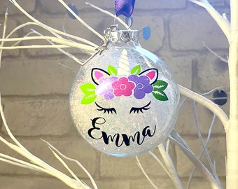 Personalised Unicorn Christmas Bauble, Tree Decoration, Baby's First Christmas Gift, Glass Bauble
