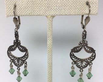 green crystal and silver chandelier earrings