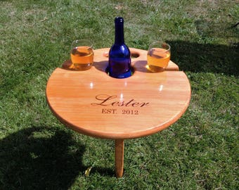 Personalized Wedding gift, gift for the couple, Anniversary gift, Engagement gift, Bridal shower, folding Wine Table, unique wedding gift