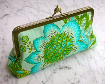 Metal-frame clutch cotton purse flowers Flower green evening bag wedding frame bridalclutch cosmeticbag frame handbag clutch bag clip