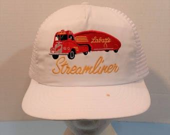 2448d9b7996 Labatt s Streamliner Beer VTG Rare Baseball Truckers Dad Hat Cap Mesh Snap  Back