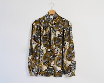 Vintage Pussy Bow Blouse  | Vintage Bow-Tie Blouse | Vintage Blouse with Bow | Ladies' Bow Blouse | Patterned Blouse | Abstract Print Blouse
