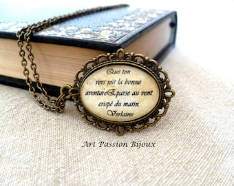 Verlaine poem necklace, italian or french quote pendant, french Literature, poetry jewelry, gift for writer, gift for poet, 25% off ship