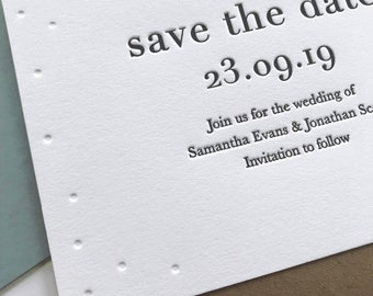Letterpress save the date card: Hand printed, Modern Wedding stationery, Simple, Contemporary