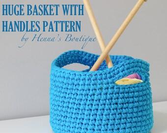 Crochet Basket Pattern - Huge Basket with Handles- PDF