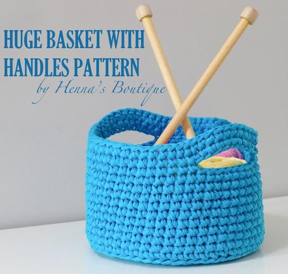 Crochet Basket Pattern Huge Basket With Handles Pdf From