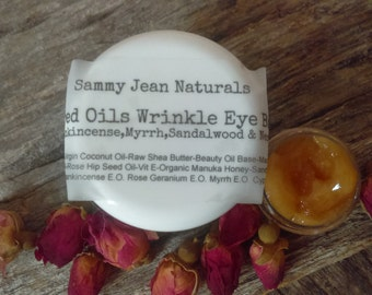 Sacred Oils Wrinkle Eye Balm/Frankincense/Myrrh/Sandalwood/Cypress/Rose Geranium/Rose Hip Seed Oil/Carrot Oil/Shea/Borage/Vit E/Manuka Honey