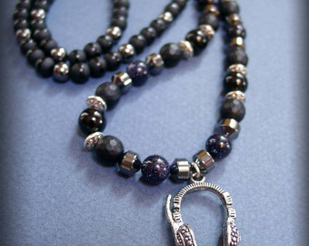 Midnight necklace men blue tiger eye, hematite and onyx stones with stereo headphones Ref: RC-041