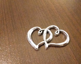 10pcs - Silver Double Heart Charm Connector - 24mm x 31mm - Jewelry Supplies - Valentine's Day - B27