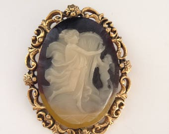 Blue & Yellow Faux Cameo Brooch