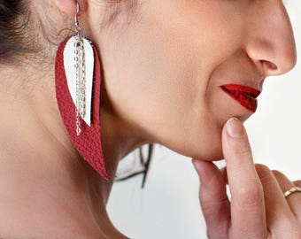 Red and white Feather Leather Earrings, layered earrings, tribal Earrings, Boho earrings, dangle earrings, long leather earrings