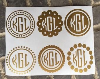 Monogram Sticker Pack / Vinyl Decals / Vinyl Stickers / Monogram Decals / Free Shipping