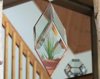 Geometric Air Plant Holder Stained Glass Hanging Terrarium Large Clear and Copper Colored Diamond Planter Glass Vase