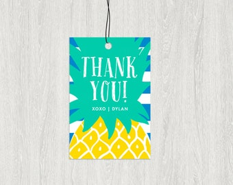 Pineapple Favor Tag | Pineapple Birthday Favors | 2x3 Customized Digital File