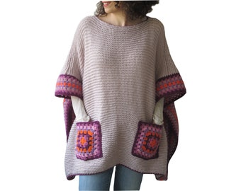 Plus Size Poncho, Plus Size Sweater with Afghan Pockets, Oversized Poncho, Pink, Purple, Lilac, Gift for Mom