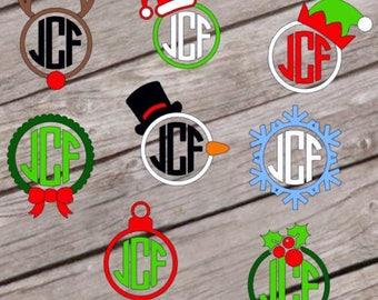 Christmas monogram decal |FREE SHIPPING| santa mongram | snowman monogram | ornament monogram | reindeer monogram | christmas cup decal