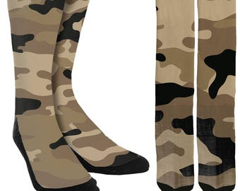 Camouflage Crew Socks - Unique Socks - Mens Clothing - Womens Clothing - Novelty Socks - Cool Socks - Camouflage Socks - FREE Shipping G07