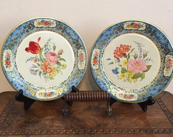 Vintage Daher Blue and Gold Floral Decorative Tin Plate Set & Daher tin plates | Etsy