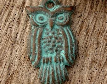 OWL PENDANT - (1) Greek Copper and Patina Small Owl Pendant