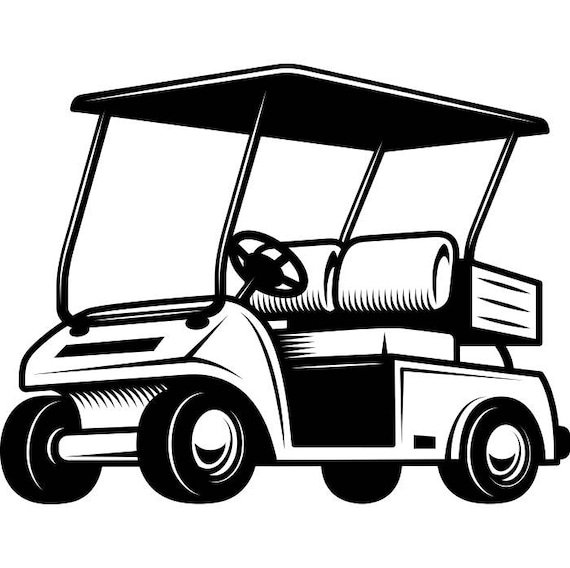 golf cart 1 golfer golfing clubs sports course cart car ball green rh etsystudio com golf cart clipart images golf cart clipart free
