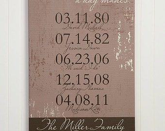 """Special Dates Personalized Canvas Print- 12"""" x 18"""""""