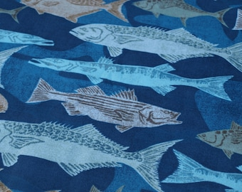 1 Yard Snuggle Flannel Fabric Fishes on Camo NEW