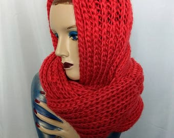 Chanky Knit Scarf/Coral Infinity Scarf/Gift For Her/90's Winter Cowl Scarf/Salmon Thick Neck Warmer/Soft and Warm Infinity Scarf/305
