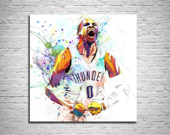 CANVAS PRINT Russel Westbrook Basketball Poster, Sports fan gift, Basketball Print, Man Cave Wall Art Decor, Boys Room Wall Decor