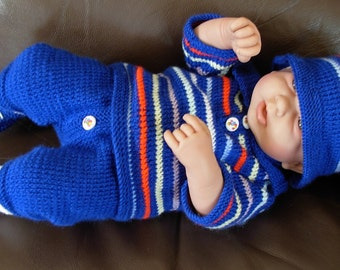 "Boy's pdf Knitting Pattern 4 Pce Set in all 3 sizes - Prem Baby 16/18"" Doll, Newborn Baby 18/20"" Doll, 0-3 Month Baby 20/22"" Doll - NICO"