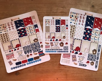 Baseball planner stickers. Available in pocket / personal  size or classic or mini happy planner. Planner accessories, supplies, decorations
