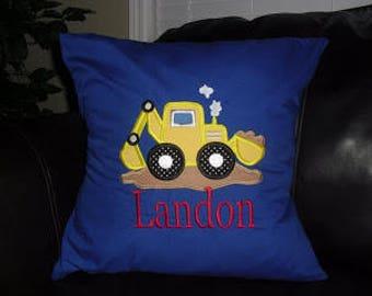 Digger Applique Pillow