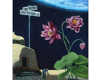 Lotus Blossom Lane Fantasy Surreal floral Original Oil Painting