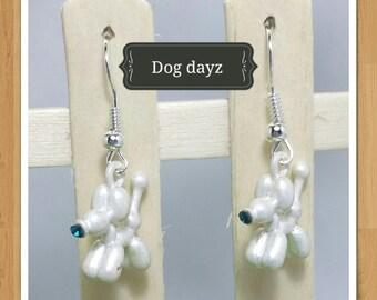 WHITE DOG EARRINGS