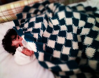 Checkered board baby blanket