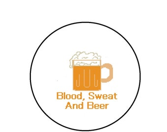 Funny Cross Stitch Pattern - Blood Sweat and Beer - PDF Instant Download