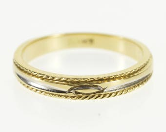 14k Rope Trim Grooved Pointed Oval Accent Band Ring Gold