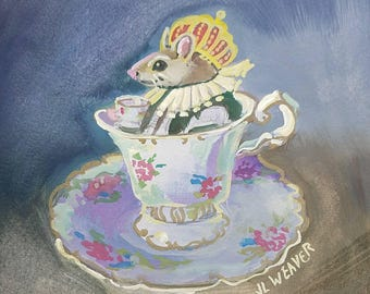 Mouse Royalty at Tea Original Watercolor and Gouache Painting