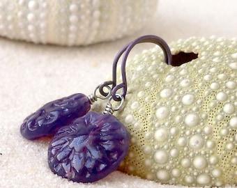 Glass Bead Earrings - Glass Bead Jewelry - Hypoallergenic Titanium Dangle Earrings - Purple Earrings - Boho Jewelry - Beaded Dangle Earrings