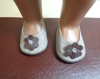 Brown and beige-Mary Jane-- Doll Shoes-- for 18 inch dolls- fits american girl dolls
