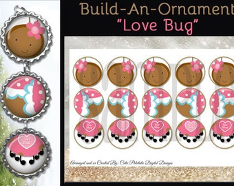 """Love Bug Cuties Ornament Images, Christmas, Holiday - INSTANT DIGITAL DOWNLOAD - 1"""" Craft Images For Bottle Cap Ornaments (4x6)"""