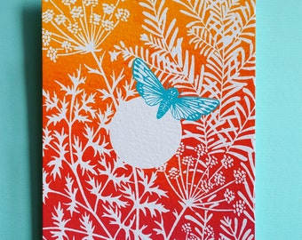 Sunset butterfly greetingcard