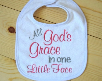Embroidered Miracle baby bib God's Grace One Little Face