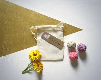 50 Organic Seed Bomb Favors - plantable favors with custom color options