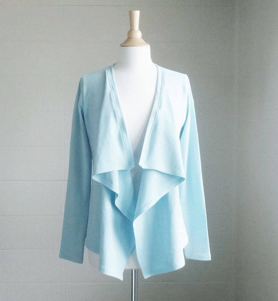 cotton cardigan Open front Long Sleeve Lightweight Jersey Sweater fly away blouse wrap around jacket cocoon layering top loose sweater
