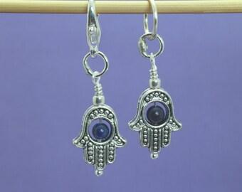 Hamsa Hand and Lapis Lazuli Knitting or Crochet Stitch Marker, September Birthstone, Knitting Tools, Gift for Knitters, Crochet Tools