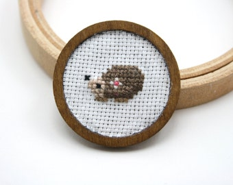 Hand embroidered brooch - Cute cross stitch hedgehog brooch