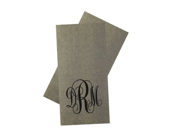 Personalized Tweed Paper Guest Towels or Beverage Napkins, Monogrammed, Custom, Party, Dinner Napkin, Grey, Modern Napkin, Wedding Napkin