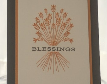 Harvest Blessings Thanksgiving Card, Giving Thanks Hand Made Card, Thinking of You Card, Wheat Gratitiude Greeting Card